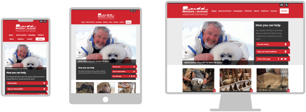 Network for Animals website showing responsive design on mobile, tablet and desktop screens
