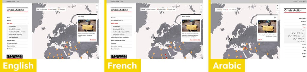 Crisis Action website screenshots showing English, French and Arabic versions