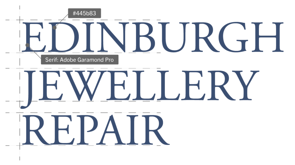 Edinburgh Jewellery Repair logotype with font name Adobe Garamond Pro and hex colour #445B83