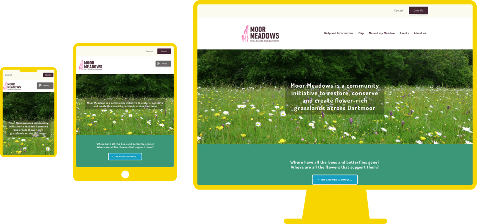 Moor Meadows responsive website design shown on various screen sizes